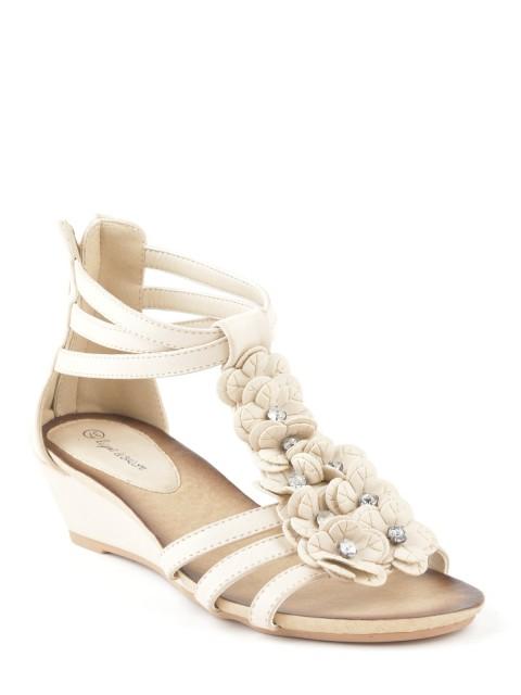 Sandales compensées fleurs femme beige