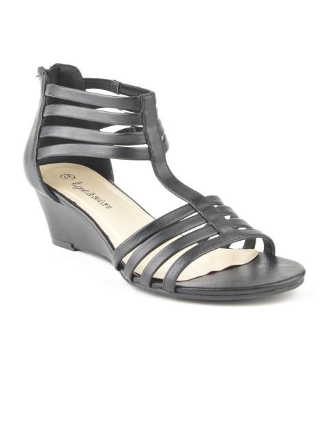 Sandales compensées à brides femme noir