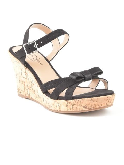 Sandales compensées noeuds femme noir