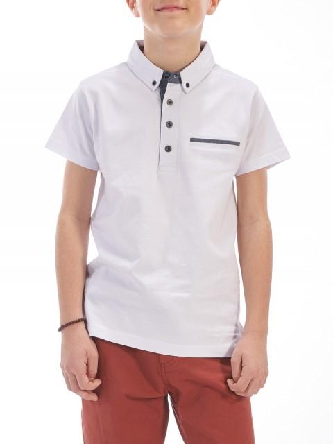 Polo avec poche blanc garçon (8-16A)