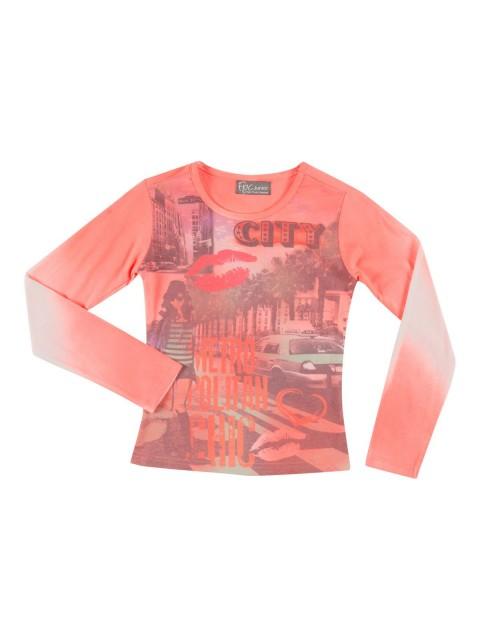 T-shirt fluo imprimé City fille