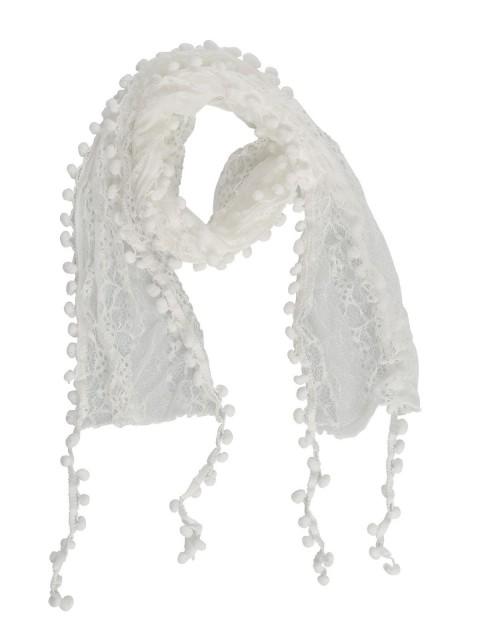 Foulard femme avec dentelle et pompons