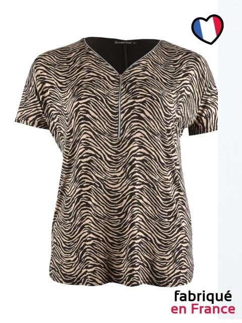 Tshirt décolleté zip grande taille Femme