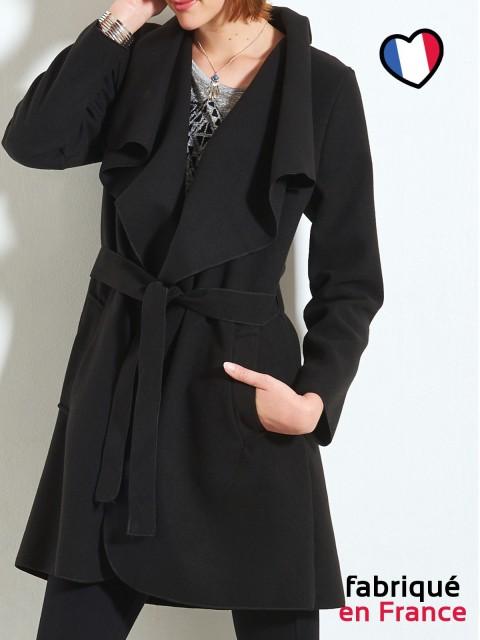 Manteau long noir femme