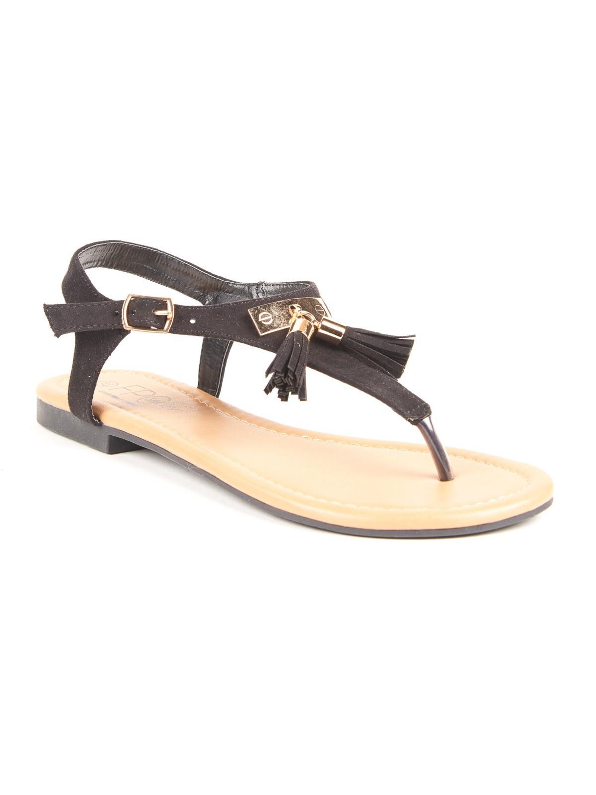sandales entredoigt pompons talon plat districenter. Black Bedroom Furniture Sets. Home Design Ideas