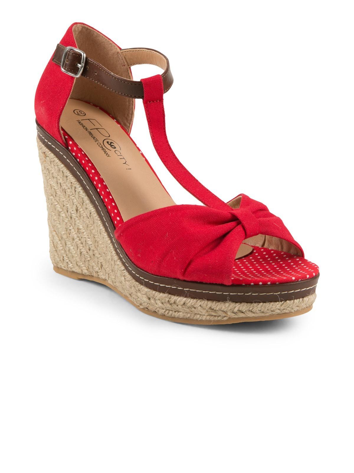 Sandales compensées avec noeud femme DistriCenter