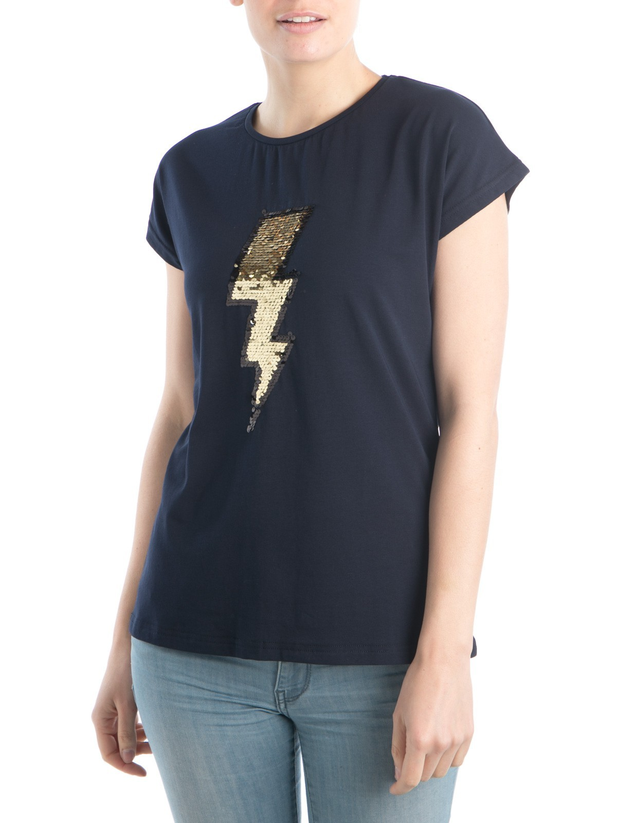 tee shirt sequins femme districenter. Black Bedroom Furniture Sets. Home Design Ideas