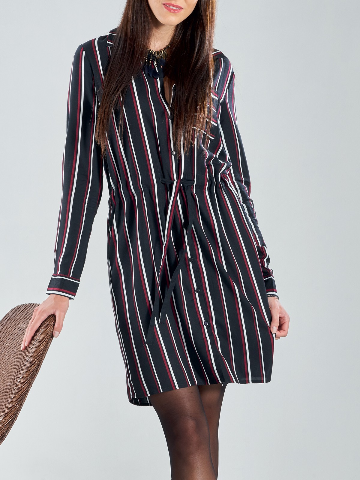Robe chemise rayée femme - DistriCenter 782aee00e67