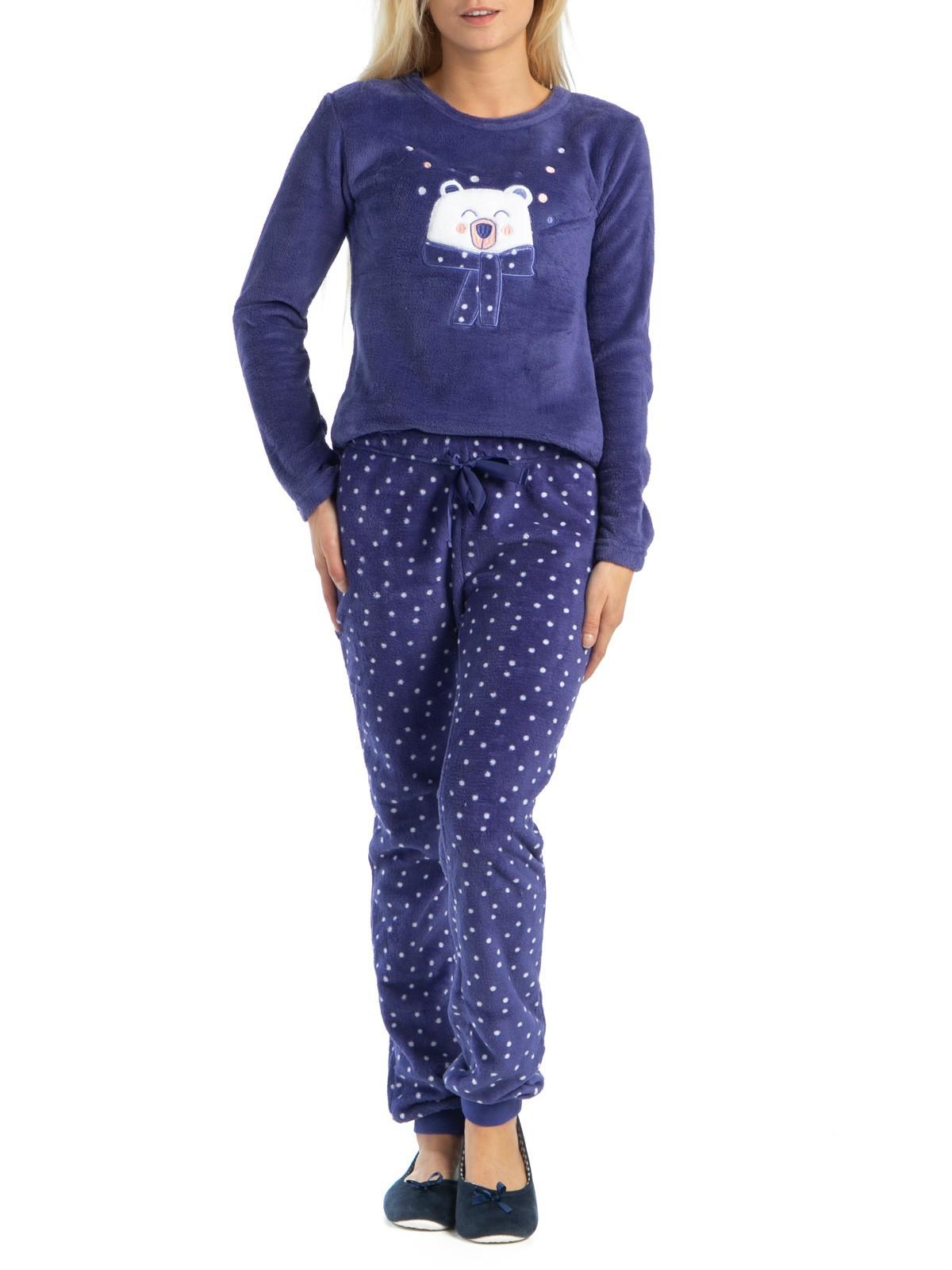 b8697fcae1df1 Pyjama polaire imprimé bleu femme - DistriCenter