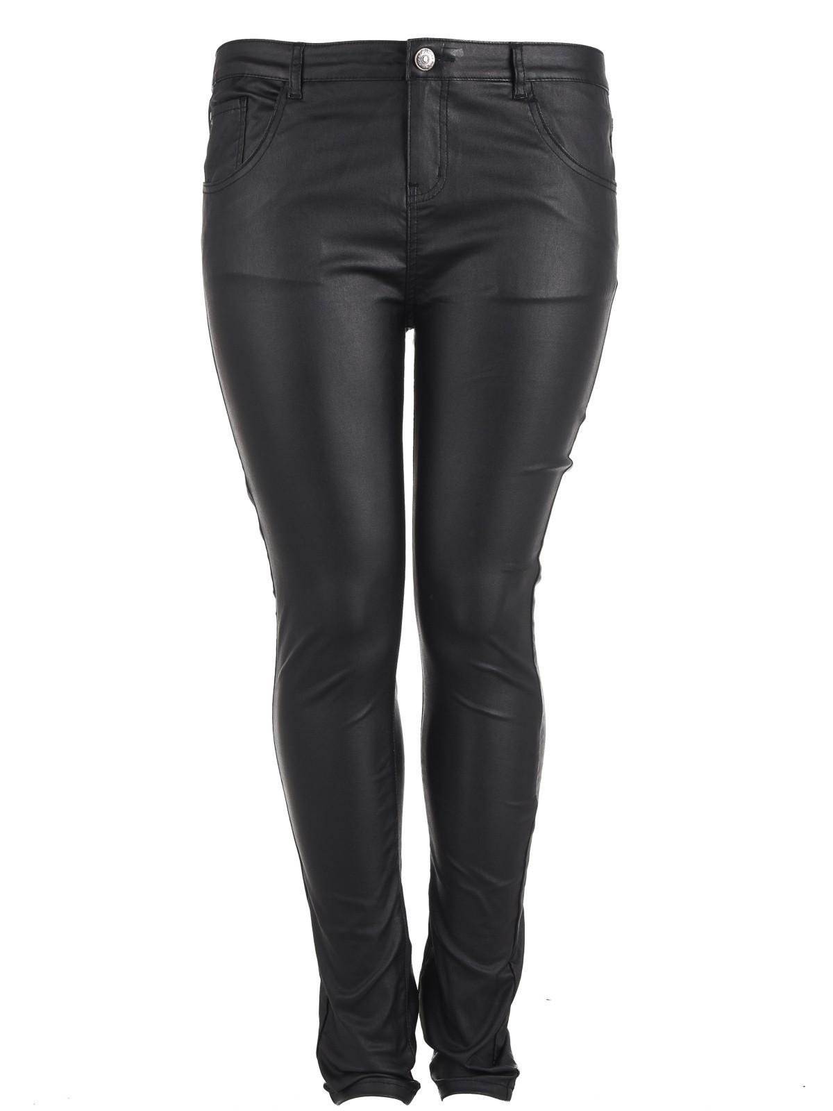 pantalon grande taille enduit noir femme districenter. Black Bedroom Furniture Sets. Home Design Ideas