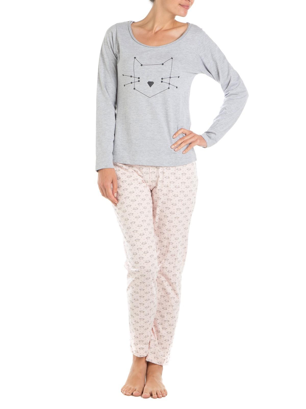 dernière vente extrêmement unique Découvrez Pyjama femme imprimé chat graphique - DistriCenter