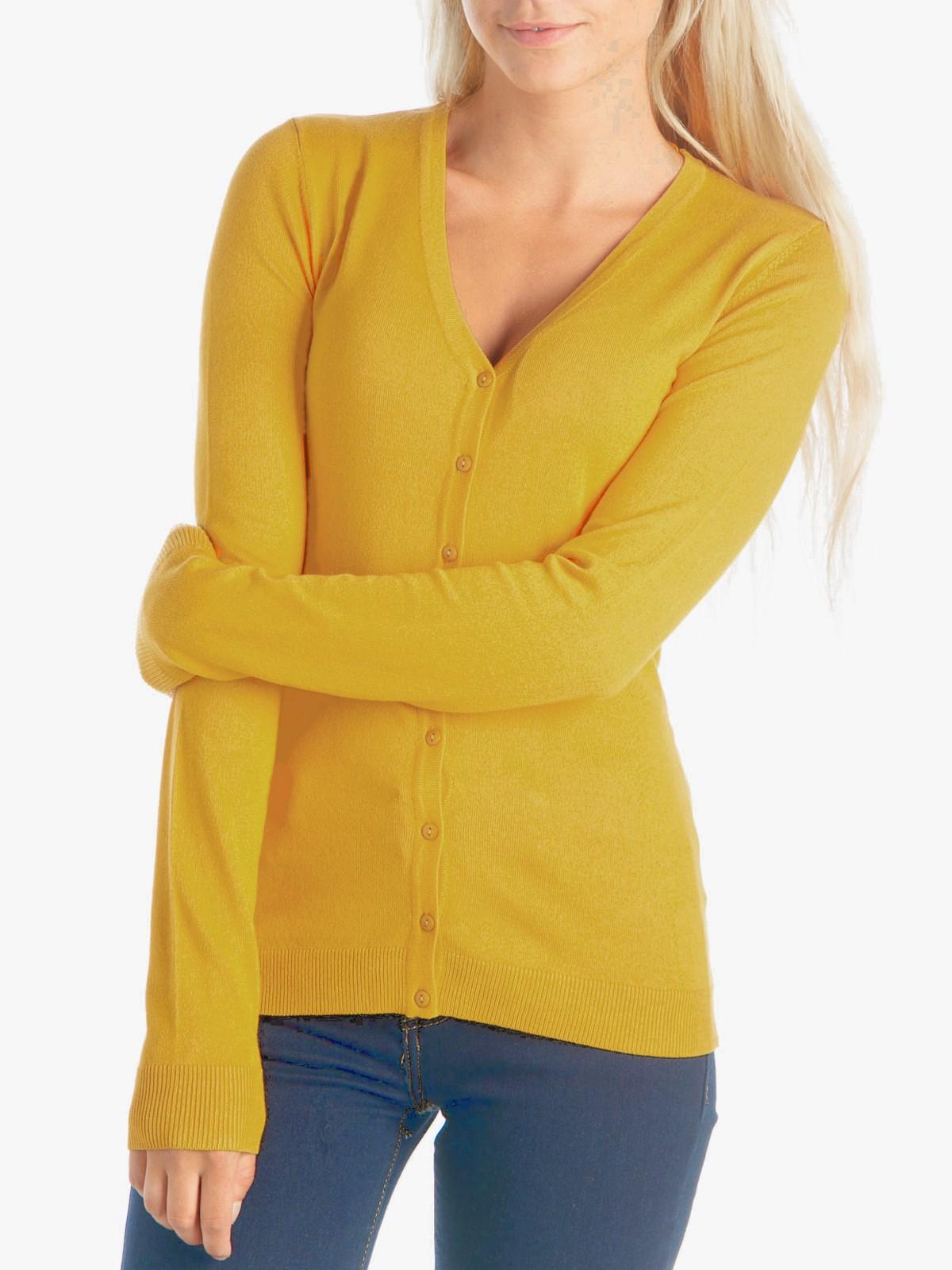gilet jaune boutons basique pour femme districenter. Black Bedroom Furniture Sets. Home Design Ideas